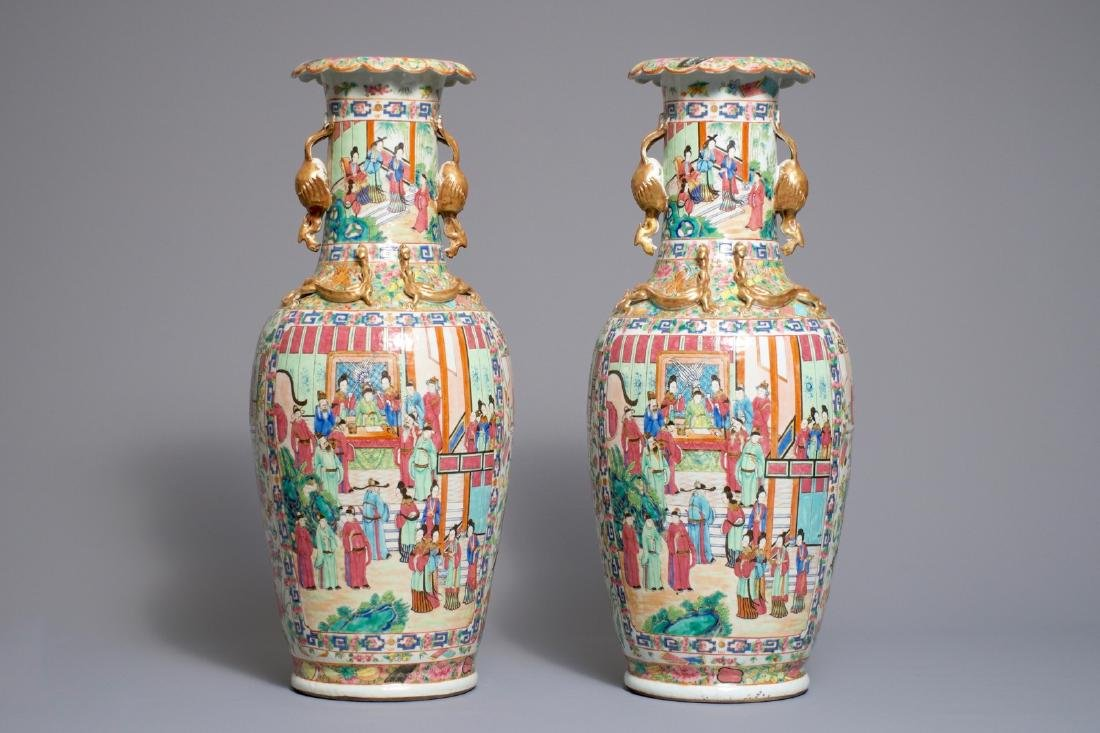 A pair of rare Chinese Canton famille rose vases with