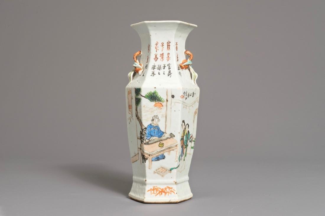 A Chinese hexagonal qianjiang cai vase, 19/20th C.