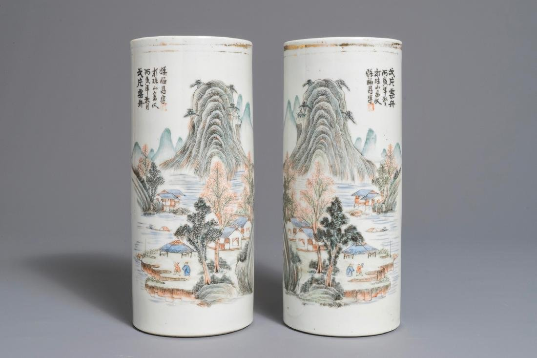 A pair of Chinese qianjiang cai landscape hat stands,