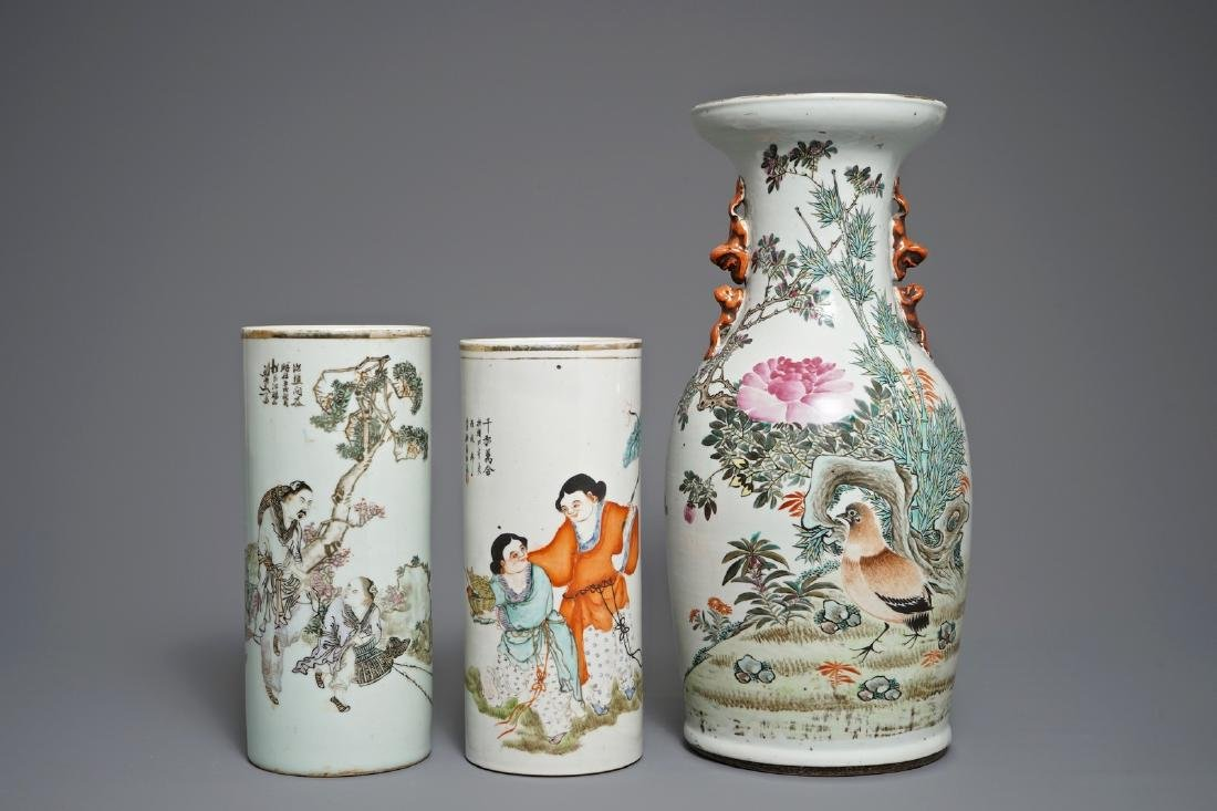 Two Chinese qianjiang cai hat stands and a vase,