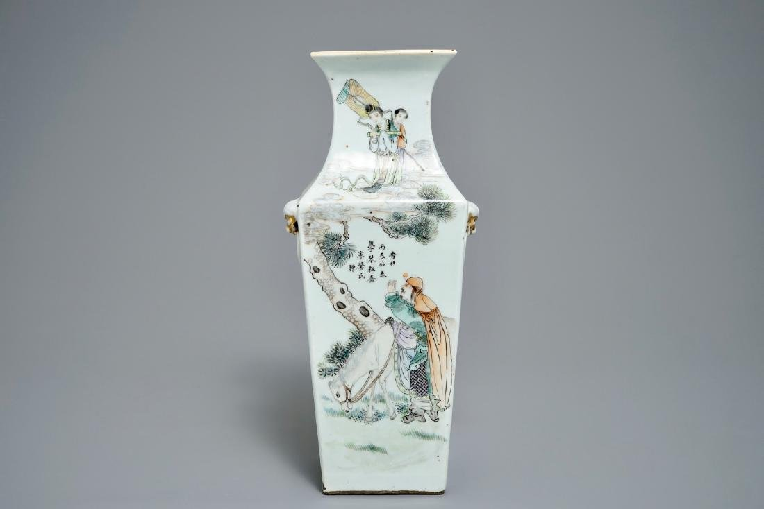 A square Chinese qianjiang cai vase, 19/20th C.