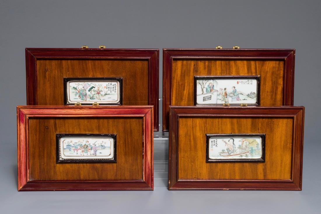 Four Chinese famille rose and qianjiang cai plaques,
