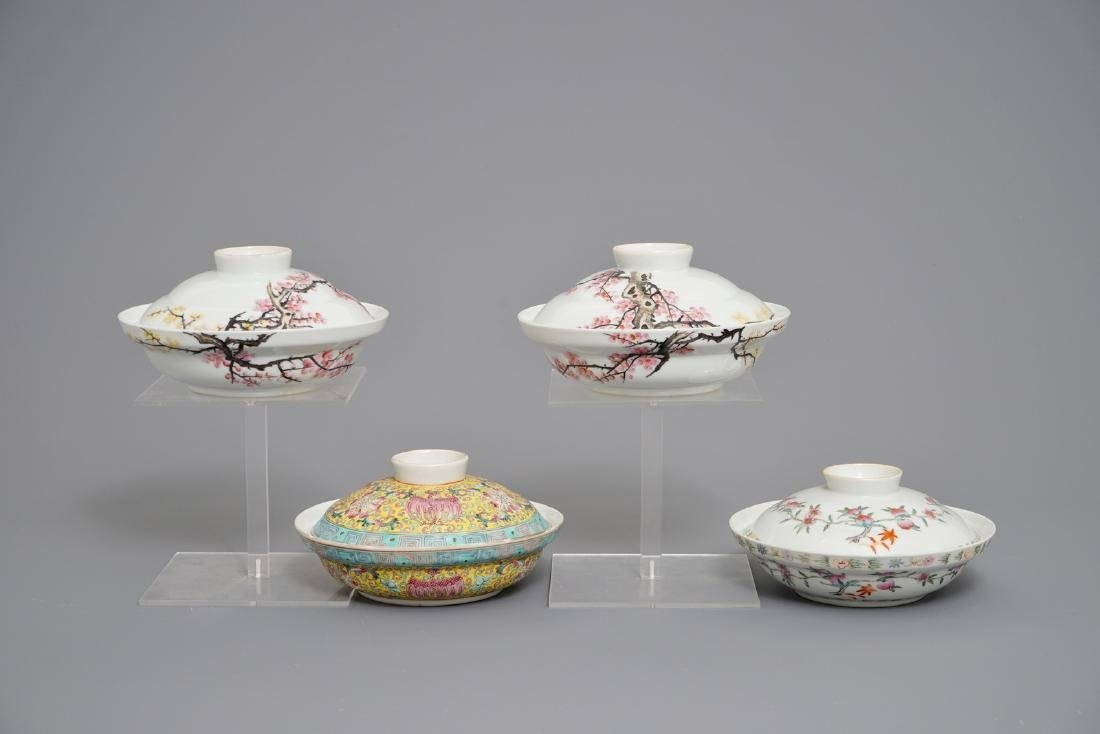 Four Chinese famille rose covered bowls, 19/20th C.