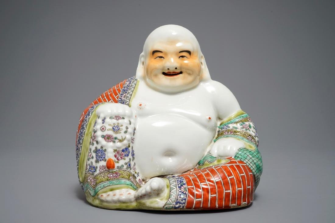A large Chinese famille rose figure of Buddha, 19/20th