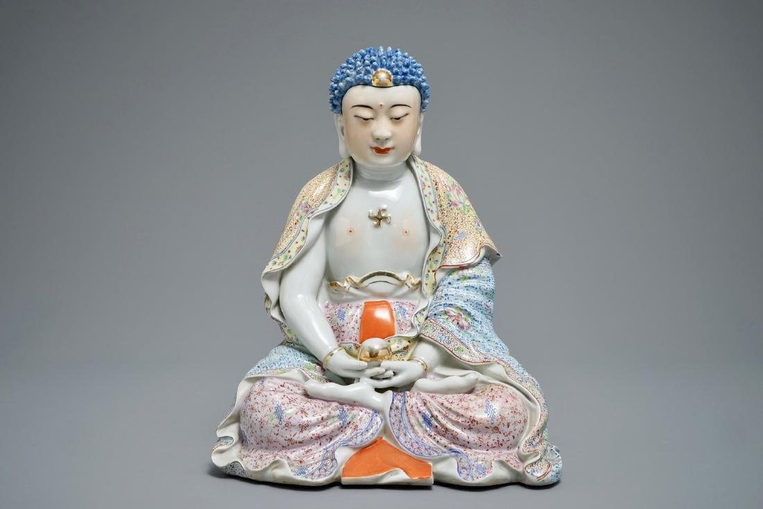 A large Chinese famille rose figure of Buddha