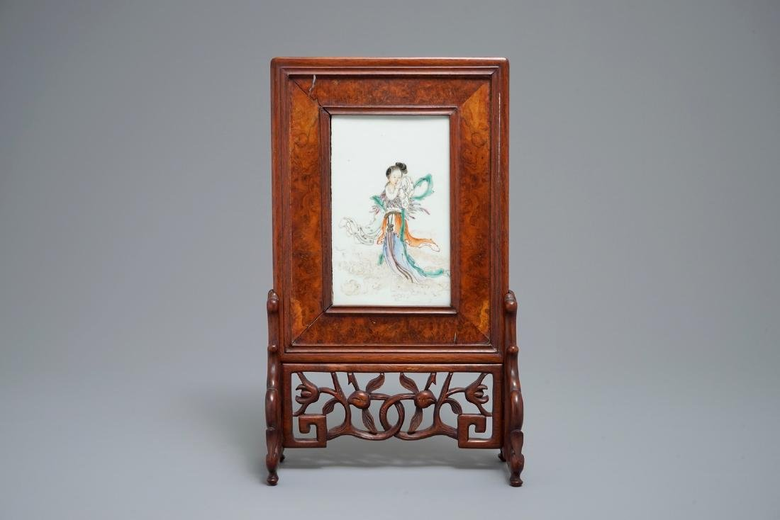 A small Chinese famille rose rootwood table screen,