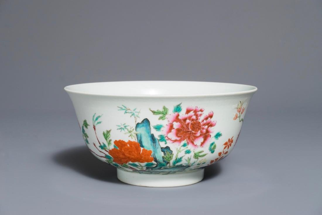A Chinese famille rose bowl with flowers, Daoguang