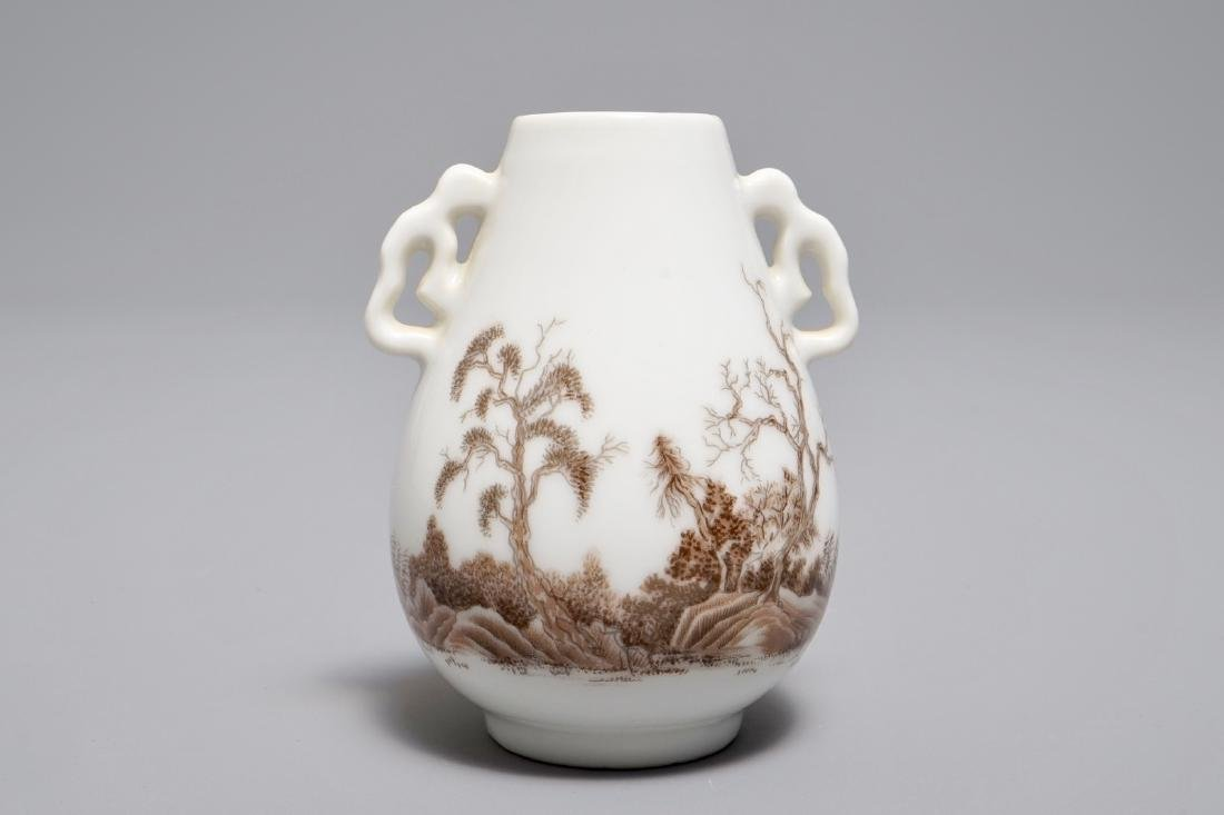 A miniature Chinese hu vase with grisaille landscape