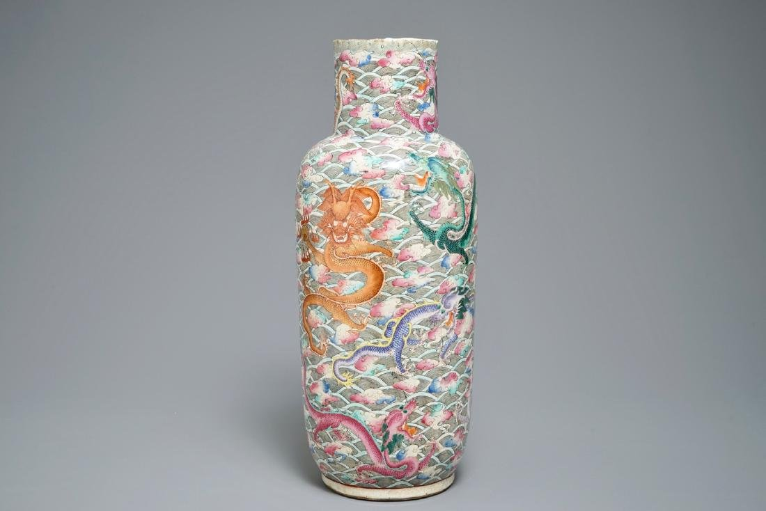 A Chinese famille rose dragon vase, 19th C.