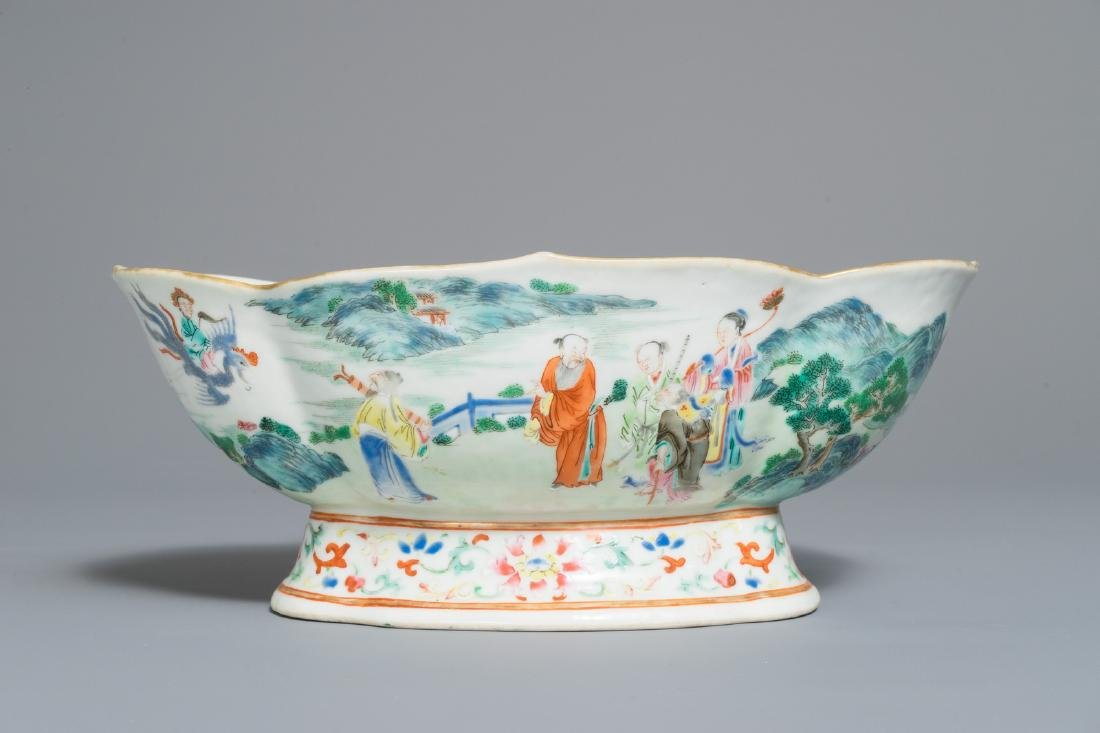 A fine Chinese famille rose bowl on foot, Jiaqing mark