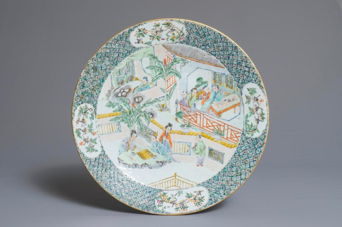 A Chinese Canton famille verte charger, 19th C.