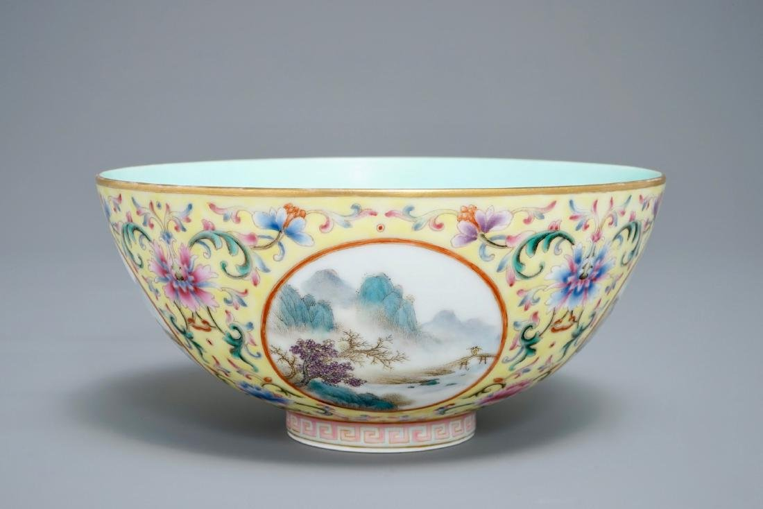A fine Chinese famille rose yellow-ground bowl with