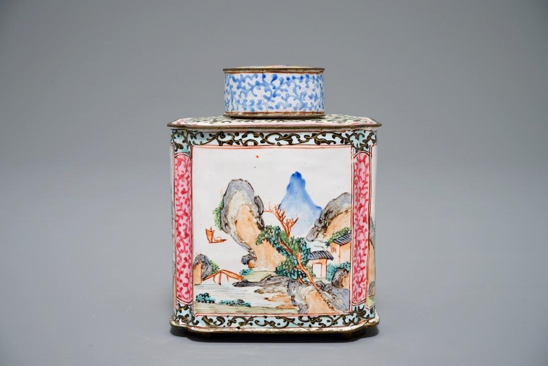 A Chinese Canton enamel tea caddy and cover, Qing