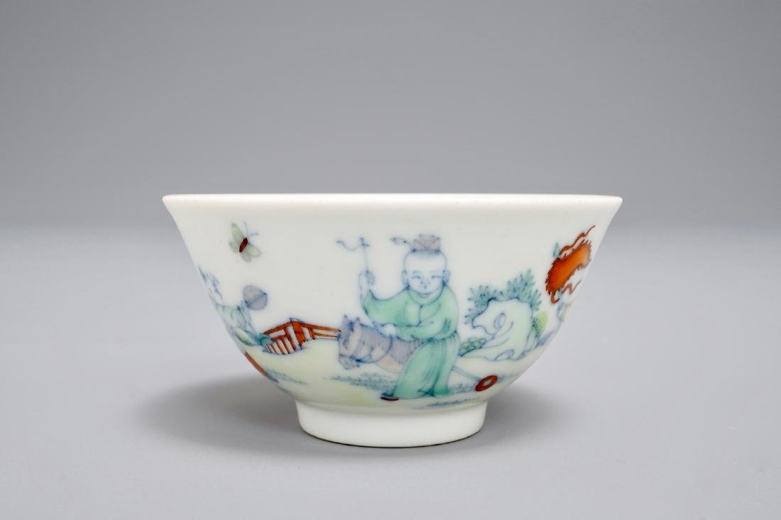 A Chinese doucai tea bowl with playing boys, Yongzheng