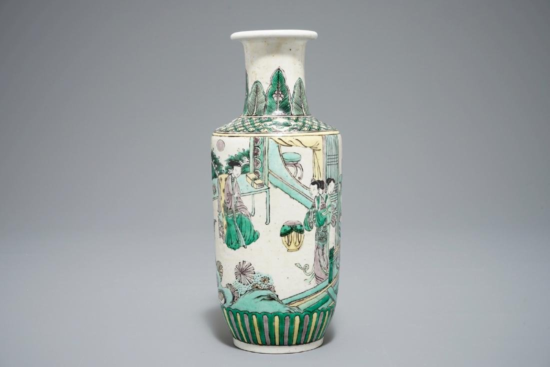 A Chinese verte biscuit rouleau vase, Kangxi or later