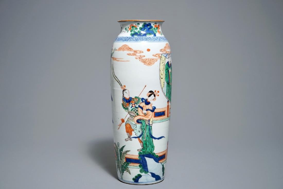 A Chinese Kangxi-style famille verte rouleau vase with