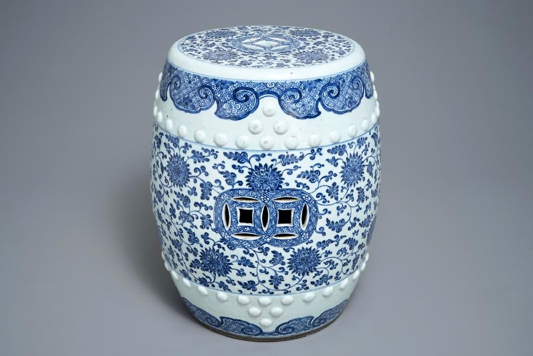 A Chinese blue and white 'lotus scroll' garden seat,