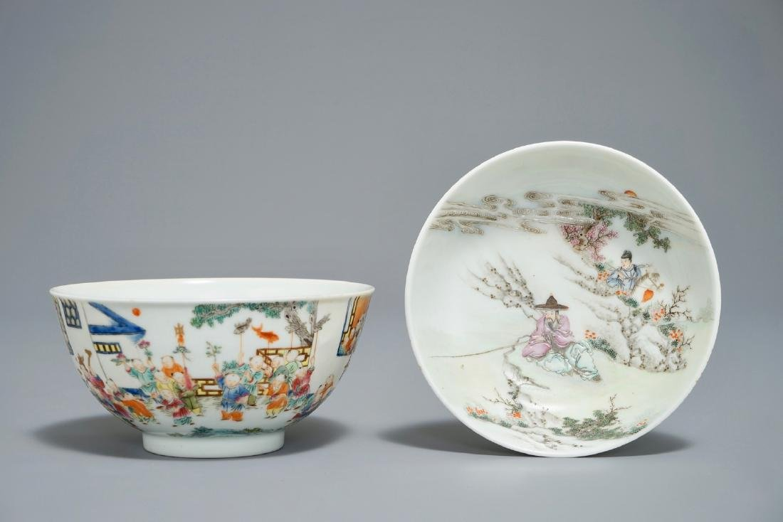 A Chinese famille rose bowl, Jiaqing mark, and a