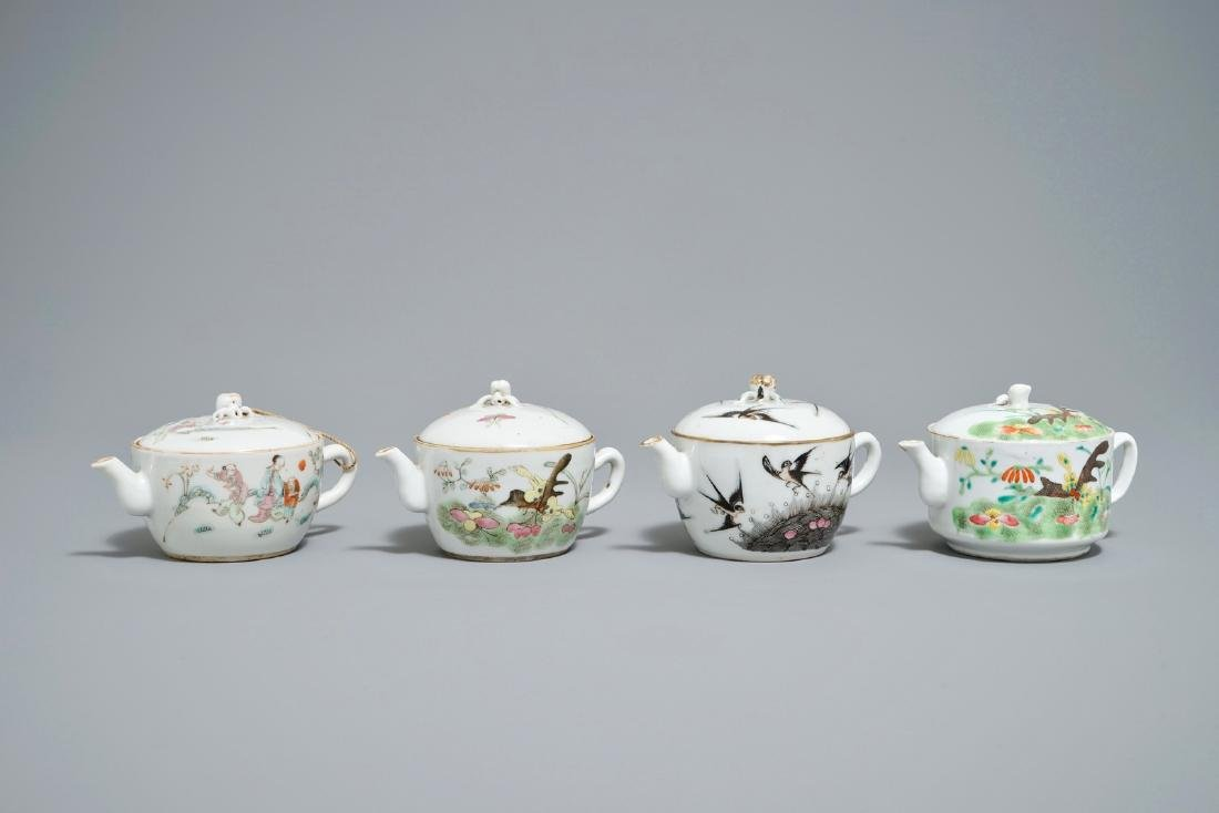 Four Chinese famille rose teapots, 19th C.