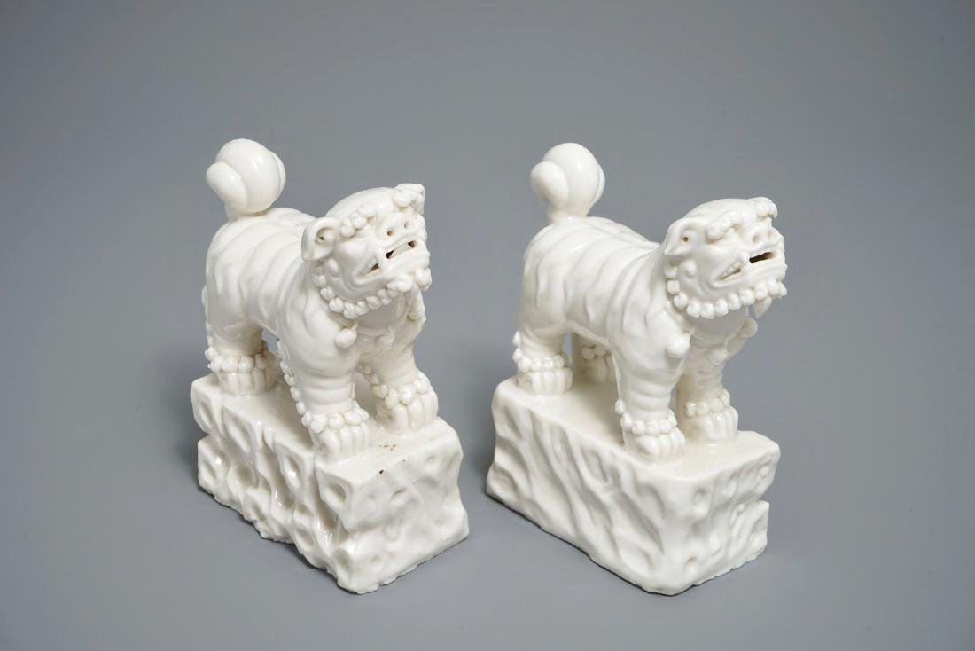 A pair of Chinese Dehua blanc de Chine models of