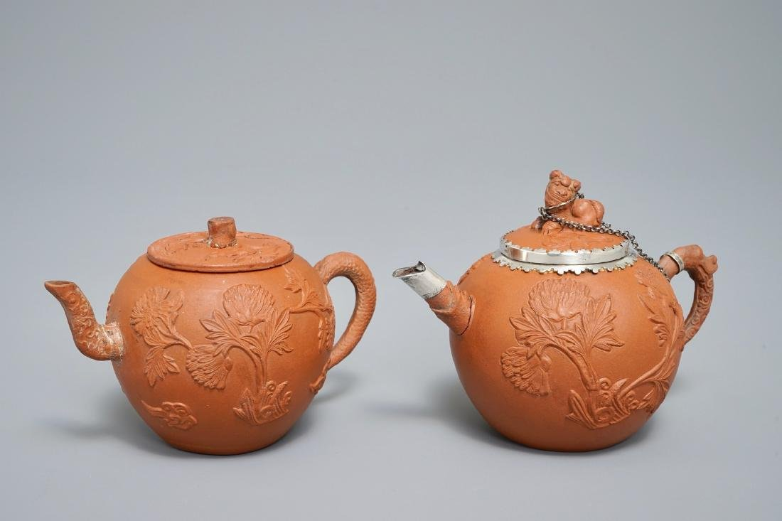 Two Chinese Yixing stoneware teapots with applied