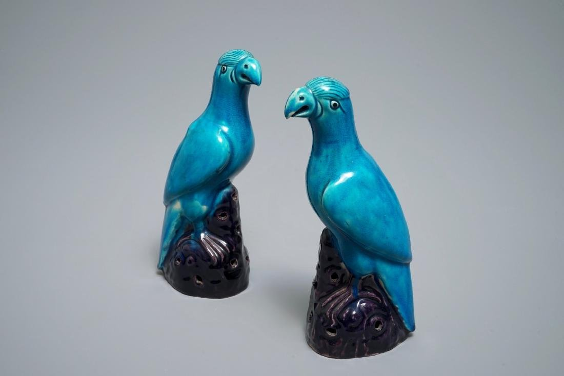 Two Chinese aubergine and turquoise-glazed models of