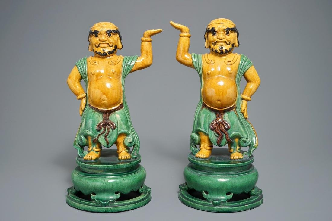 A pair of large Chinese sancai figures of temple