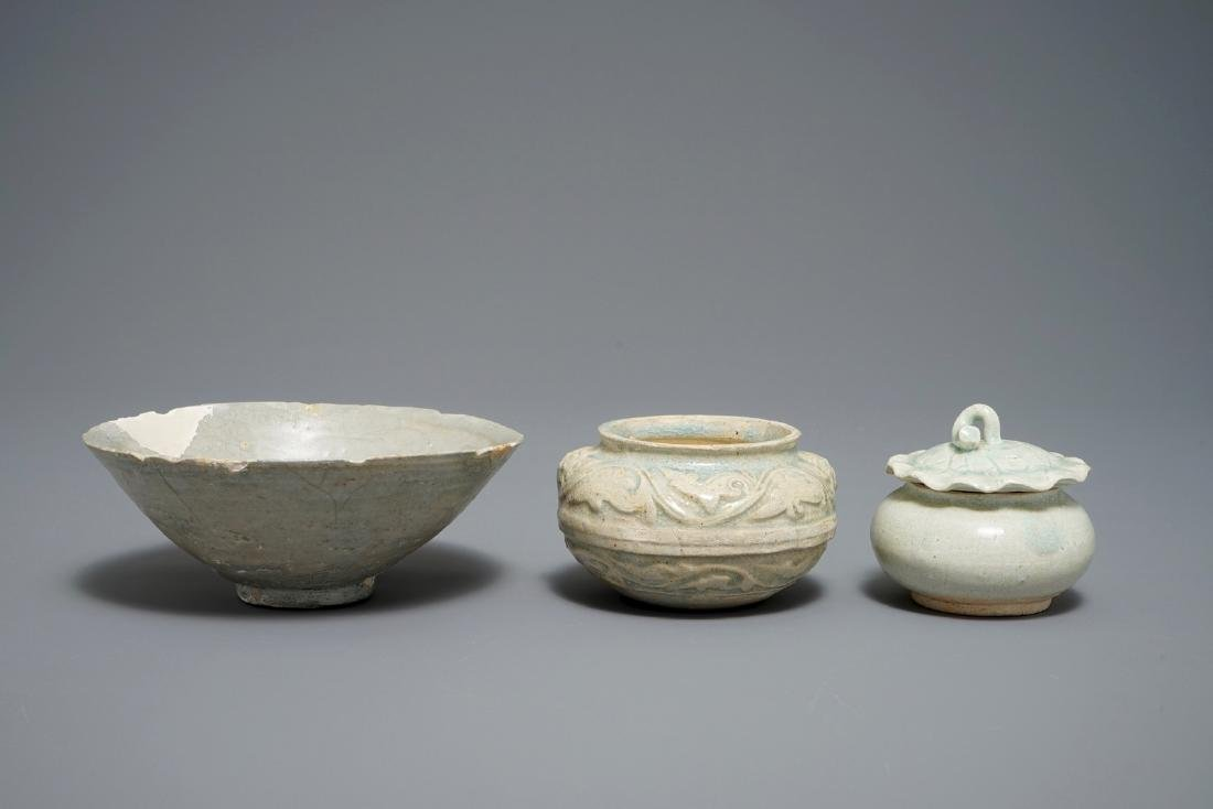 Three Chinese qingbai and grey-glazed bowls and