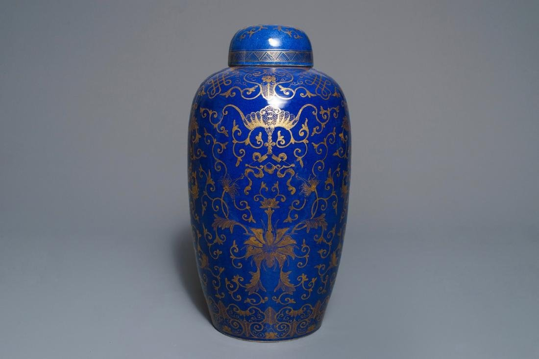 A large Chinese gilt-decorated blue-ground jar and