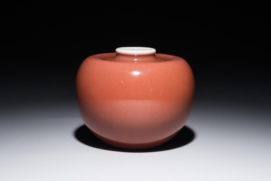 A Chinese monochrome liver-red brush washer, Kangxi