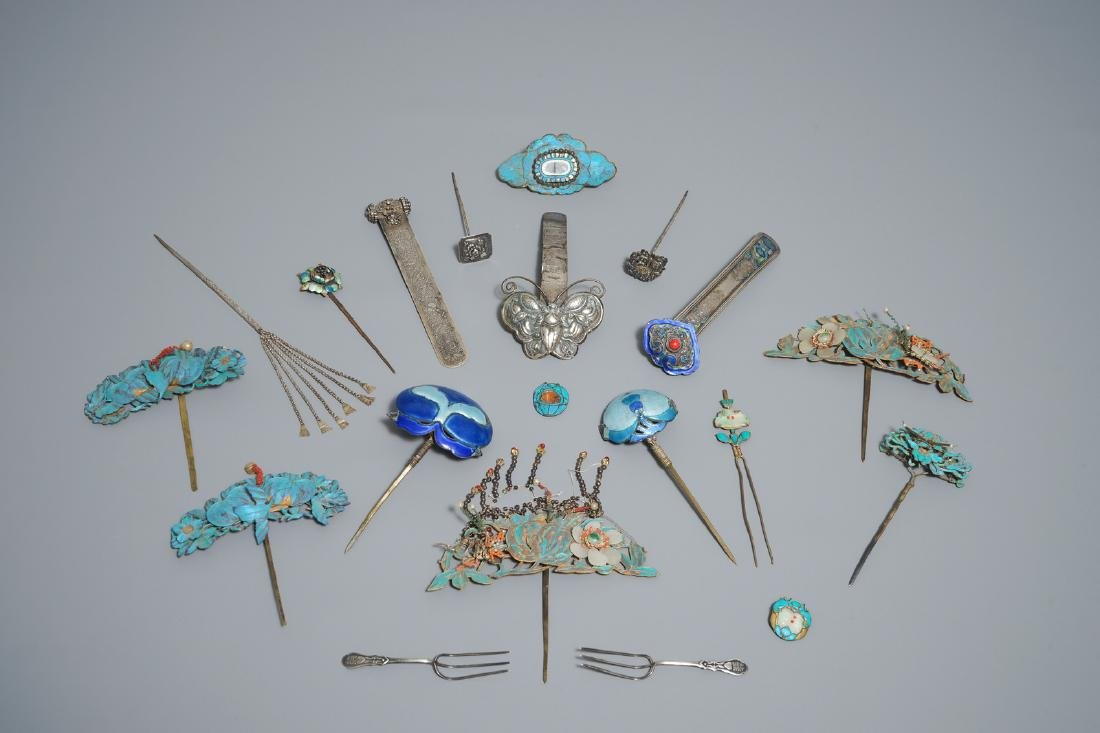 Twenty Chinese kingfisher feather ornaments in silver,