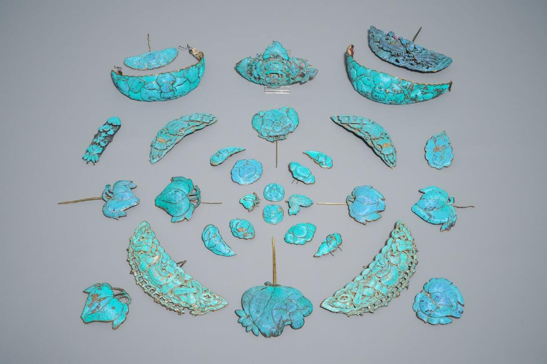Thirty-one Chinese kingfisher feather ornaments in