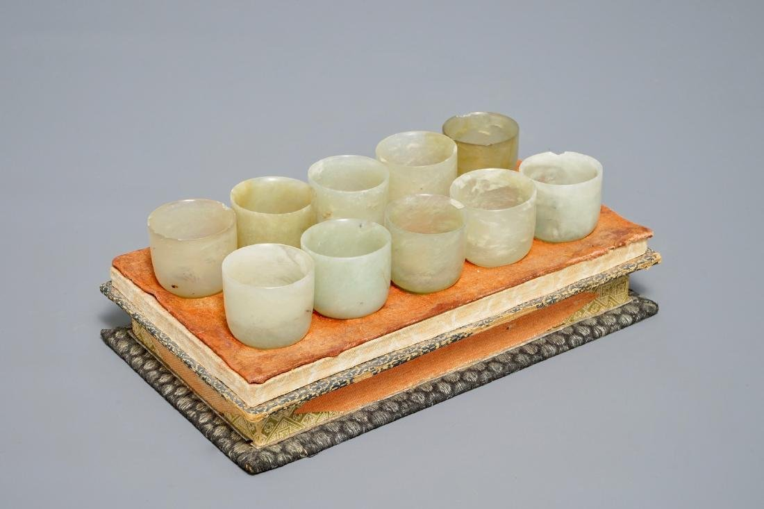A set of ten Chinese celadon jade cups, 19/20th C.