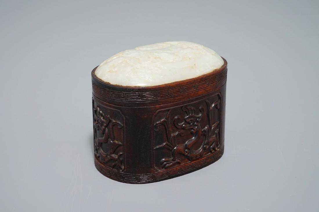 A Chinese jade top carved mahogany box, 19/20th C.