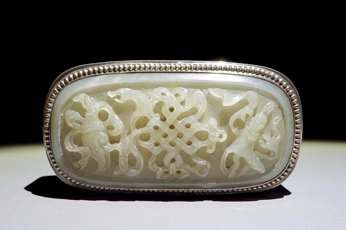 A Chinese jade-topped silver box, signed Yuchang