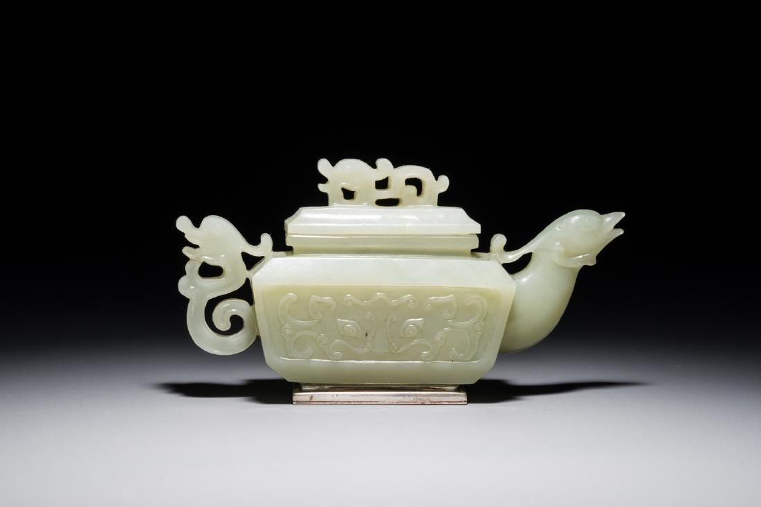 A Chinese silver-mounted jade 'dragon and phoenix'