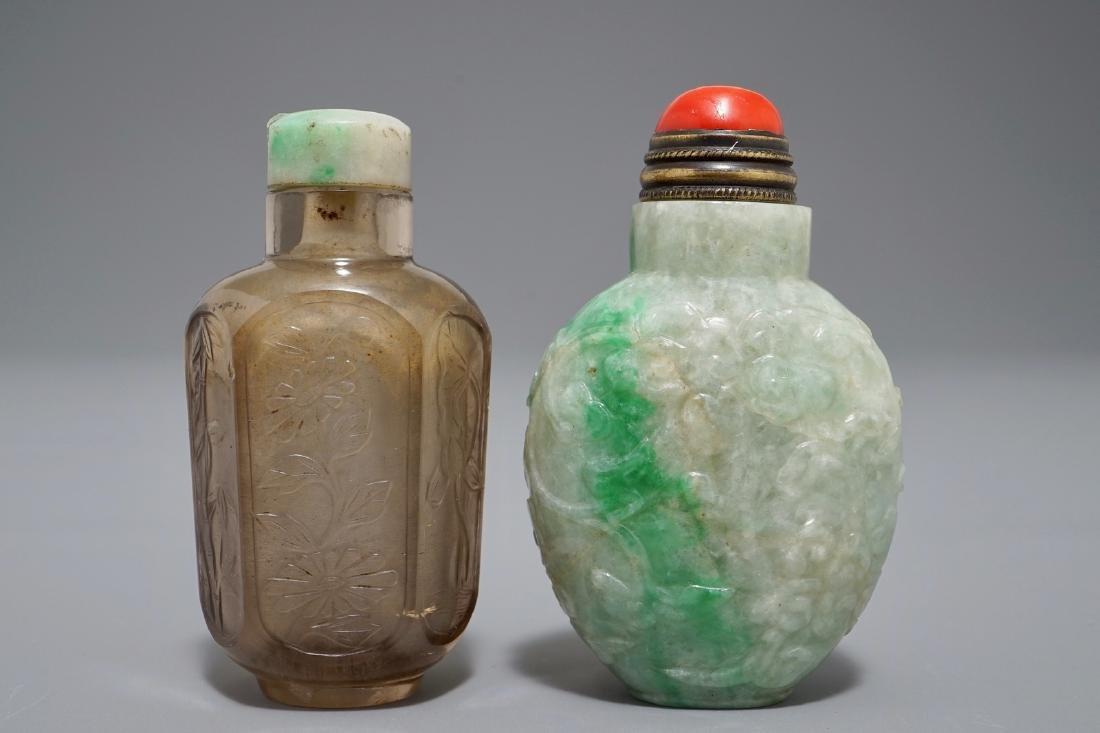 Two Chinese smoked quartz and jadeite snuff bottles,