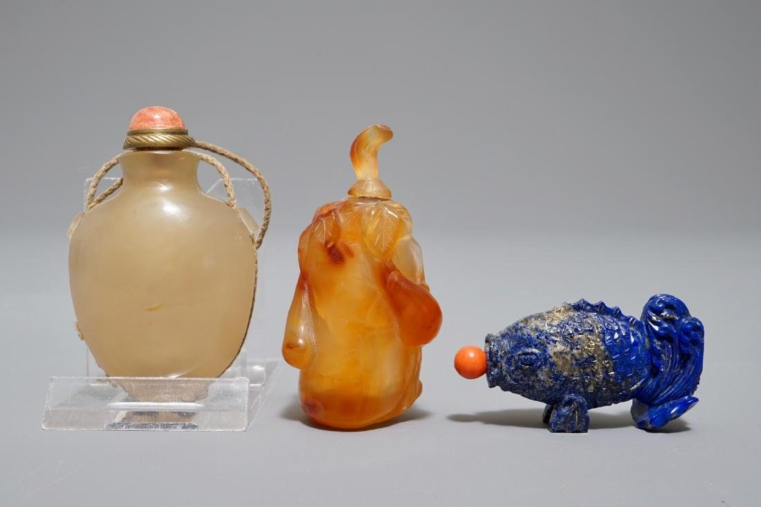 Three Chinese agate and lapis lazuli snuff bottles,
