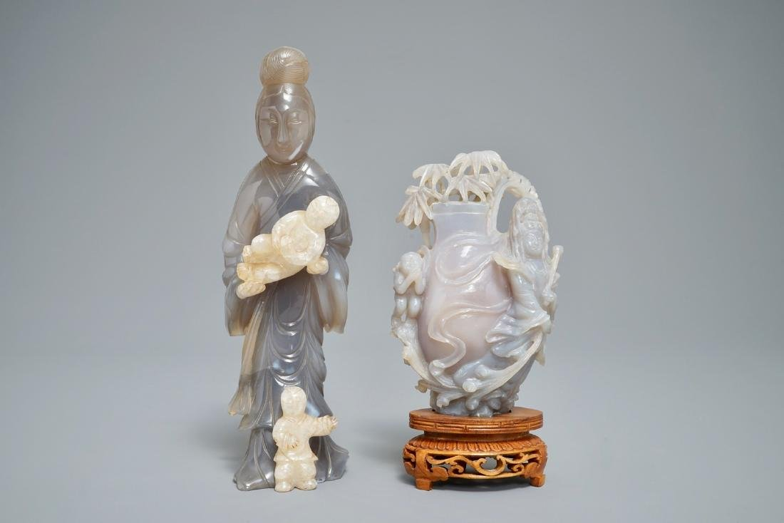 A Chinese carved agate figure of a lady and a vase on