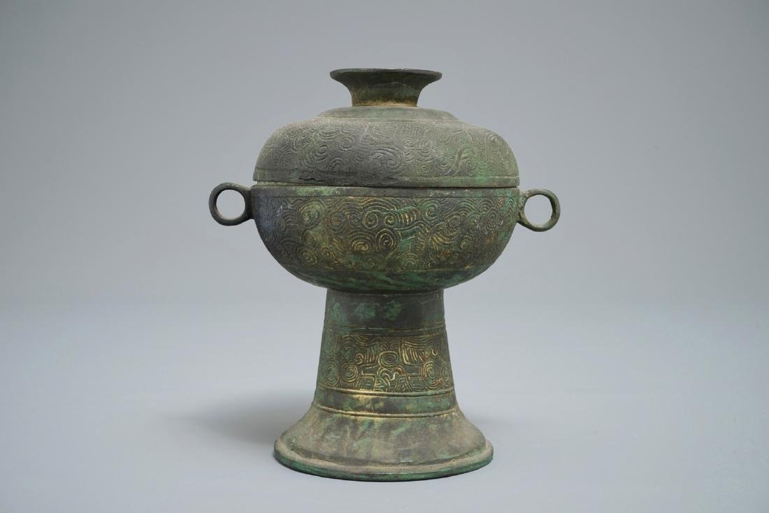 A Chinese archaistic bronze 'dou' vessel, Warring