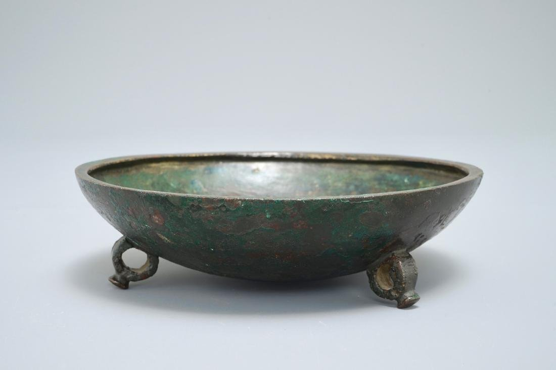 A Chinese bronze tripod bowl or cover, Song