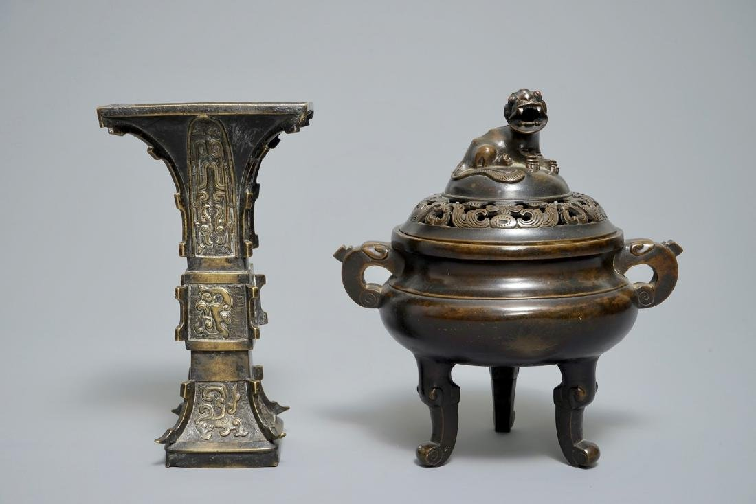 A Chinese bronze incense burner with Xuande mark and a