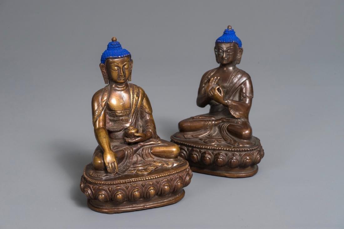 Two Chinese gilt bronze figures of Buddha Shakyamuni,