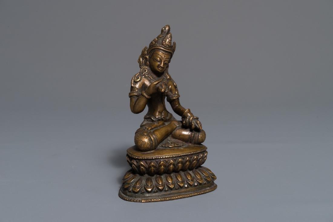 A Chinese bronze figure of Buddha Vajrasattva, 19th C.