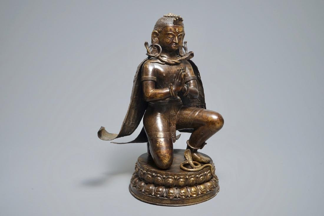A large Nepalese bronze model of Garuda, 19th C.