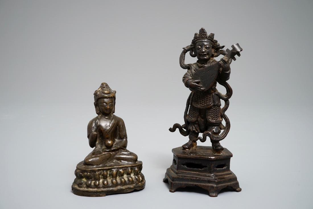 Two Chinese and Sino-Tibetan bronze figures of Buddha