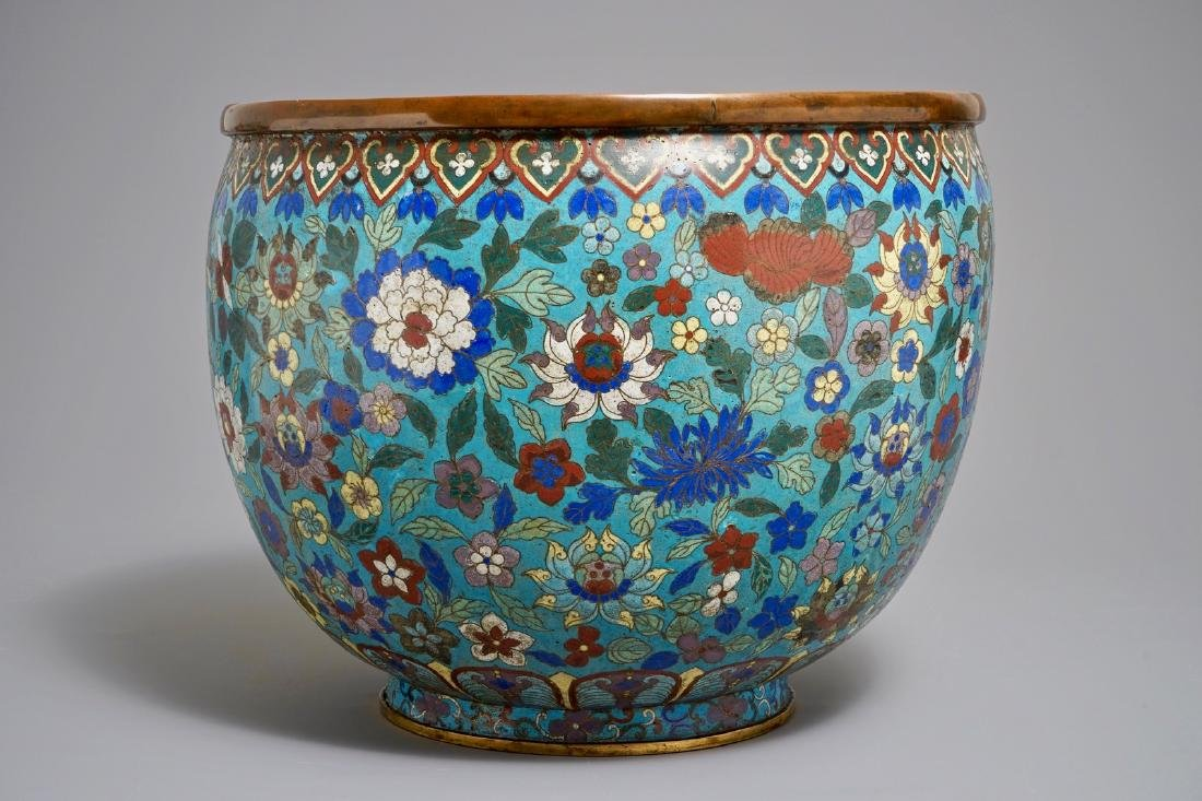 "A large Chinese cloisonne ""Lotus and peony"" jardinire,"
