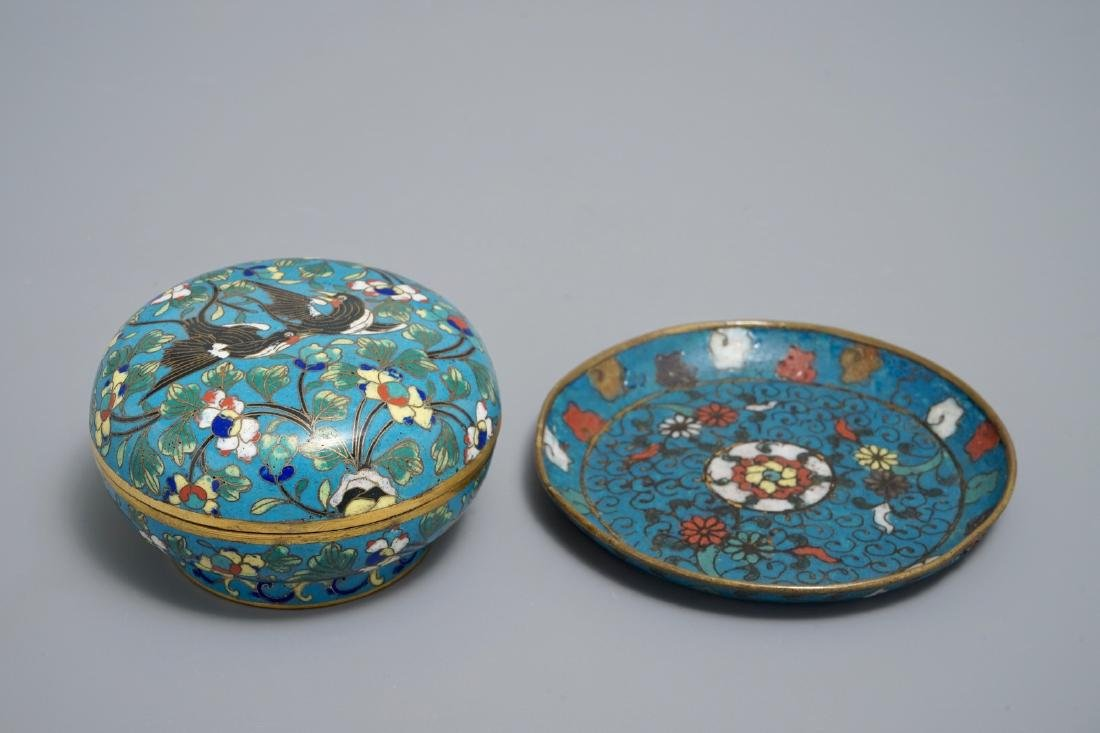 A Chinese cloisonnŽ saucer with floral design, Ming,