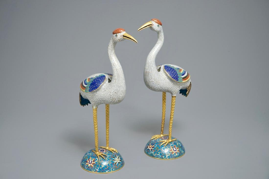 A pair of large Chinese cloisonnŽ and gilt bronze