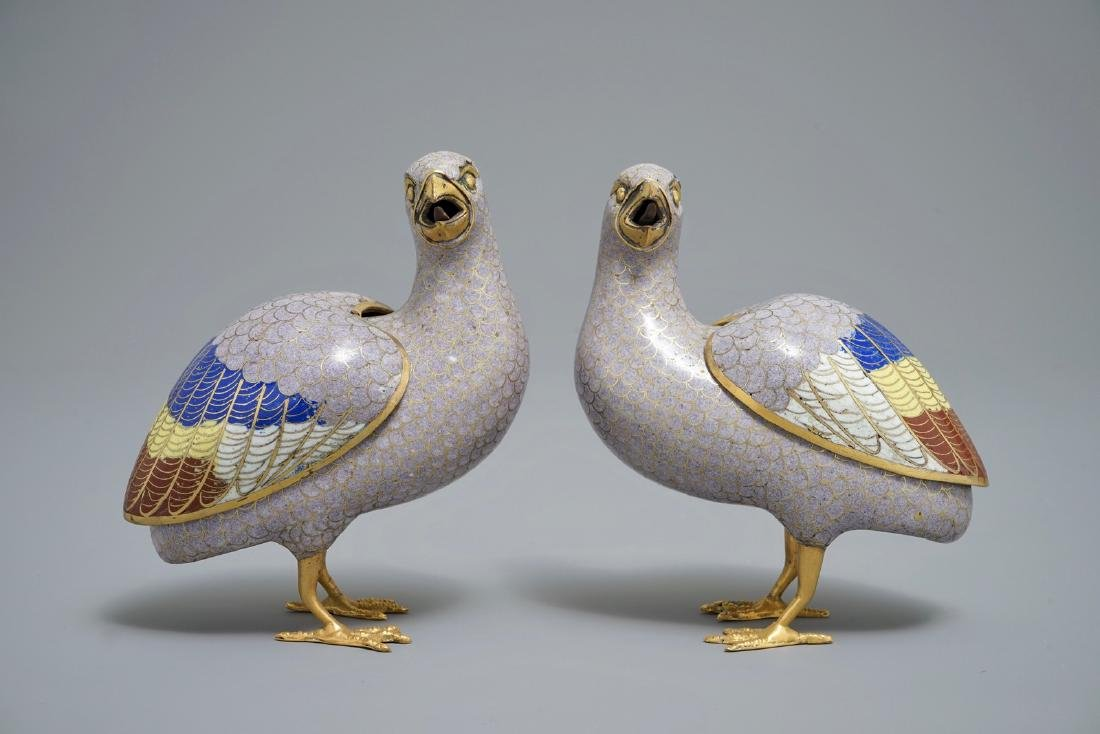 A pair of Chinese cloisonnŽ enamel quail censers and